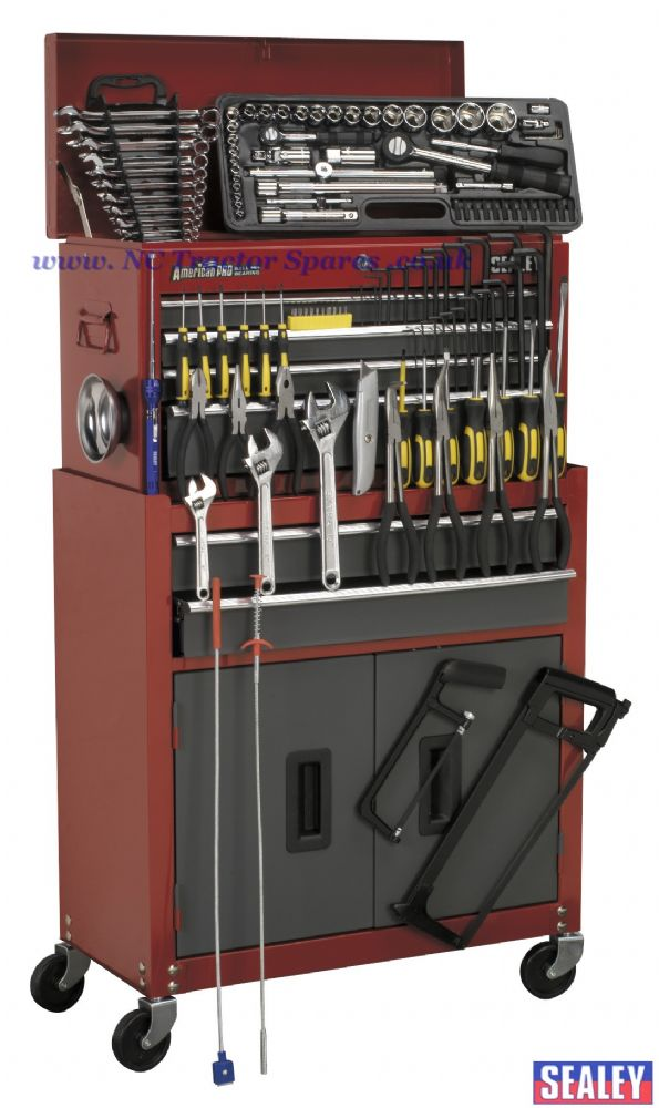Tool Chest Combination 6 Drawer with Ball Bearing Runners - Red/Grey & 128pc Tool Kit
